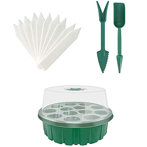 Seed Propagator Tray Set Plant Starter Kit with Adjustable Humidity Dome and Base Greenhouse Grow Trays Seedling Starter Tray for Germination Growing Seeddling Trays Kit with Dome Humidity 13pcs