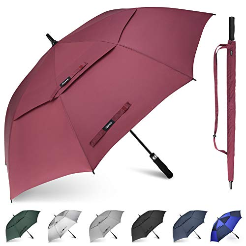 Gonex Sturmfest Golf Regenschirm 68 Zoll Groß XXL, UV-Schutz, Automatischer Offener Regenschirm mit Winddichtem, Wasserabweisendem Doppelverdeck, Eva-Griff,für 2-5 Männer
