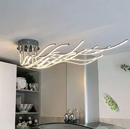 HBLJ LED Wohnzimmerlampe Deckenleuchte 95W 7280 Lumen Modern Chrom Aluminium Designer Deckenlampe 3000K-6500K Schlafzimmer Lampe Küchenleuchte Esszimmerlampe Flurlampe Dimmbar mit Fernbedienung