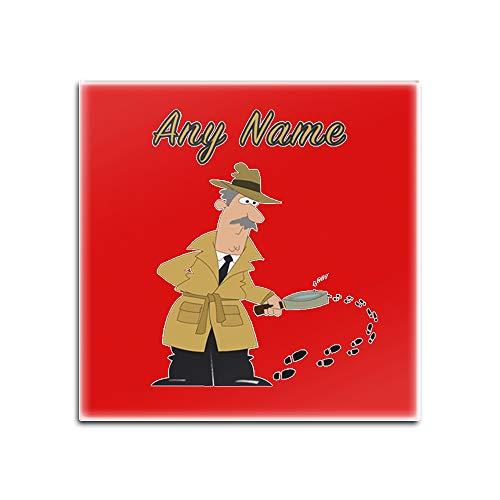 UNIGIFT Lot de 4 sous-verres en verre avec inscription « Detective » – Motif profession, nom et message unique – Tapis de sol pour l'agence Sherlock Holmes, Verre, Rouge, Carré