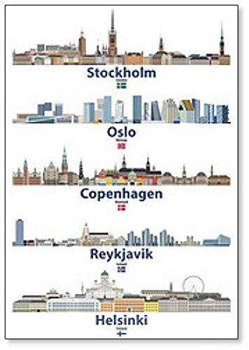Kühlschrankmagnet mit Illustration von Stockholm, Oslo, Kopenhagen, Reykjavik & Helsinki Städte Skylines