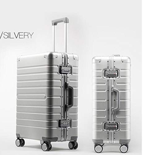 NTR Aluminium hand luggage 20' 24' 28' spinner metal large hard suitcase with wheels,SILVER,24'