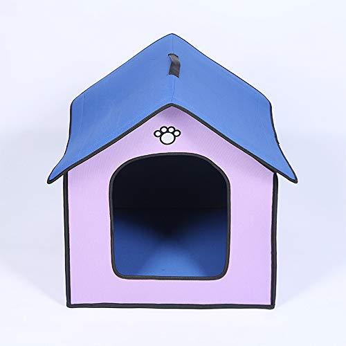 Lxxzz Mittlere Hundehütte Outdoor Wasserdicht Weich Komfortabel Pet House Kausicher Abnehmbar Kleines Hundebett Haustier Schlafmatte Tragbar