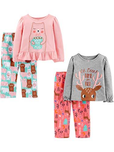 Simple Joys by Carter's Girls' Toddler 4-Piece Pajama Set (Poly Top & Fleece Bottom), Doe/Bear, 2T