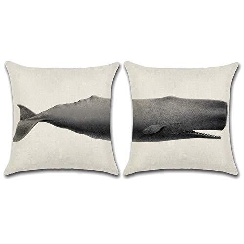 2 Pezzi Federa Animale Combinare Lino Custodia Cuscino, per Lounge Cafe Divano Casa Decorazione Pub 45X45cm Balena