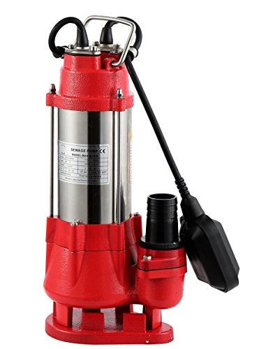 Hallmark Industries MA0387X-6 Sewage Pump, Stainless Steel, 1/2hp, 115V, with Float Switch, 3200 GPH/26' Lift, 20' Cable, Heavy Duty, Maximum Flow Rate, Stainless Steel