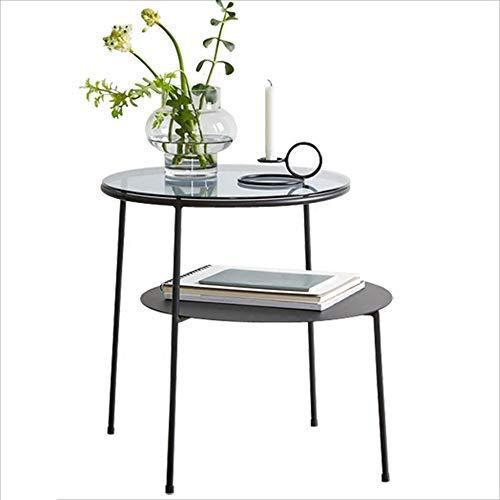 YO-TOKU - Mesa de centro para ordenador (tamaño pequeño), diseño nórdico, mesa redonda, varios de cristal, balcón, mesa de café, accesorios de jardín