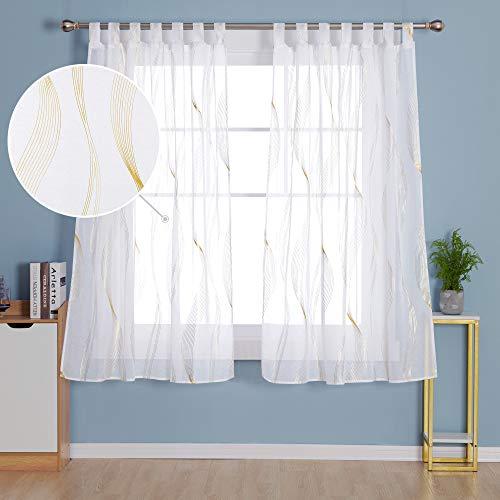 Deconovo Cortinas Visillos Dormitorio Dcorativos con Ollaos 2 Piezas 140 x 245 cm Dorado