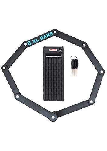 Cool Period - Candado antirrobo plegable extralargo para bicicleta eléctrica, 8 ramas, 88 cm, circunferencia, negro, alta seguridad, 3 llaves