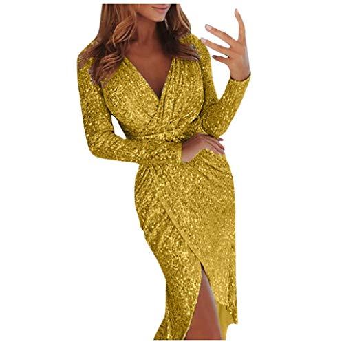 Binggong AbiballkleiderLang Damen Paillettenkleid Elegant Glänzend BallkleidV-Ausschnitt Wrap Nightclub Kleider Sequins Partykleid Minikleid