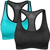 NEWHEY Sujetador Deportivo para Mujer Talla Grande Sujetadores Deportivos Yoga Sport Bra Soporte Bralette Acolchado sin Aros Negro Azul Pack L