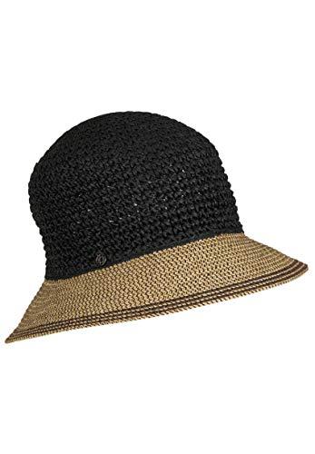 LOEVENICH Damen zweifarbige Häkelglocke, sommerlicher Hut, Farbe: Black