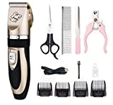 Electric Pet Grooming Clippers,I-live Rechargeable Cordless Pet Fur Grooming Trimmer Kit set,Low Noise Low Vibration,Professional Pet Dogs and Cats Grooming Trimmer Kit