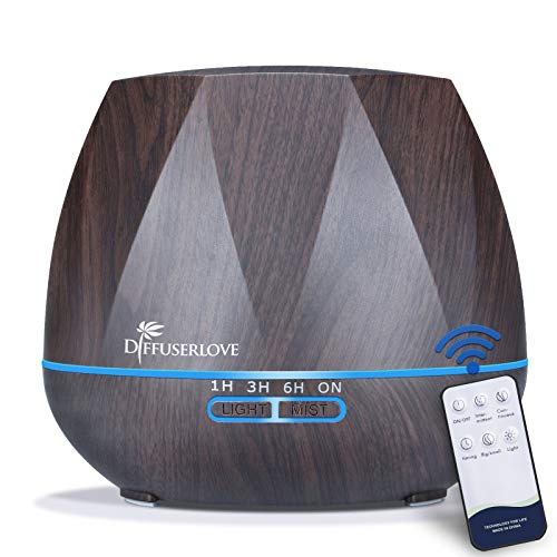 Diffuserlove Ultrasonic Cool Mist Essential Oil Diffuser 550ml Dark Wood Grain Aromatherapy Diffusers and Air Humidifiers Set Waterless Auto Shut-Off for Home Yoga Office