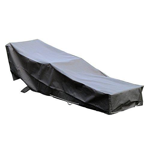 GREEN CLUB Housse De Protection pour Chaise Longue transat de Jardin Haute Qualité Polyester doublée PVC L 205 x l 70 x h 60 cm Couleur Anthracite