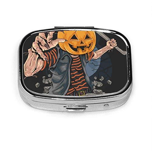 Pumpkin Zombie Halloween Custom Fashion Silver Square Pastillero Caja Medicina Tablet Holder Wallet Organizador para bolsillo o monedero