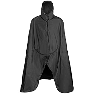 Mambe Extreme Weather 100% Waterproof/Windproof Hooded Blanket with Premium Stuff Sack (Size: Large, Black-Black) Made in The USA