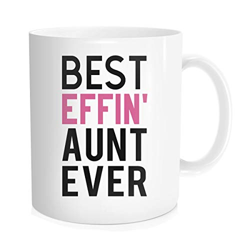 Hasdon-Hill Funny Coffee Mug for Aunt Mom Best Effin Aunt Ever Coffee Tea Cups, Cute BAE Mugs Unique for Auntie Sister Birthday from Daughter Son 11 oz Bone China White