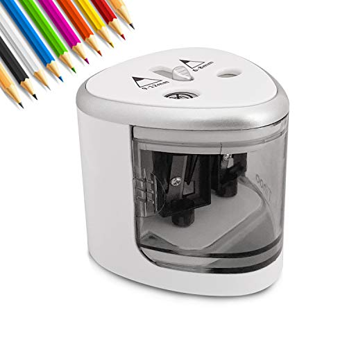 Electric Pencil Sharpener Heavy Duty Battery-Powered, High-Speed Automatic Sharpen, 2-Hole Portable Sharpener for No.2 & Colored Pencils (6-12mm), Safety for Kids Adults School Classroom Home Office