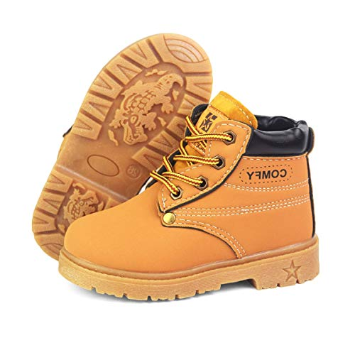 BENHERO Kids Boys Girls Boots Rain Winter Snow Ankle Booties | Classic and Waterproof | Hiking Outdoor Martin Boots (Toddler/Little Kid)(10.5 Toddler,A/Yellow)