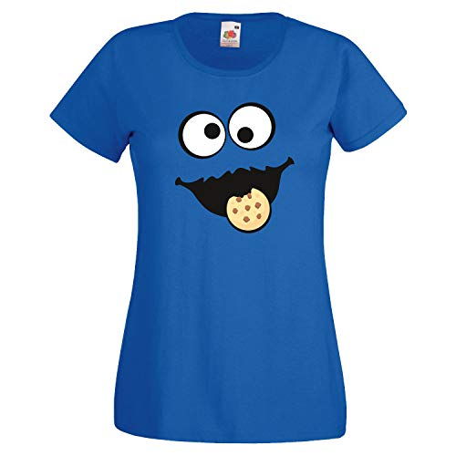 Keks Monster Kinder Mädchen T-Shirt Gruppen Kostüm Karneval Fasching Verkleidung Party JGA Royal Blue 140 (Kindergröße)