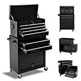 8 Drawers Tool Chest, Rolling Tool box with Lock, High Capacity Tool Chest with Sliding Drawers and 4 Wheels, Removable Tool Cabinet Storage for Warehouse Garage Workshop (Cool Black)