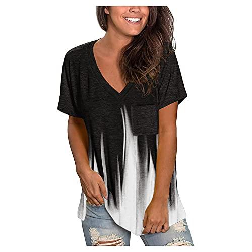 Camisetas Mujer Manga Corta Cuello V Casual Verano Blusa Baratas Originales T-Shirt Tie Dye Estampada Deporte Tops Suelta Elástico tee Shirts Básica Camisa de Vestir