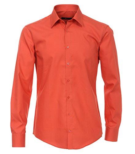 Venti Hemd Orange Uni Langarm Slim Fit Tailliert Kentkragen 100% Feinste Baumwolle Popeline Bügelfrei 35