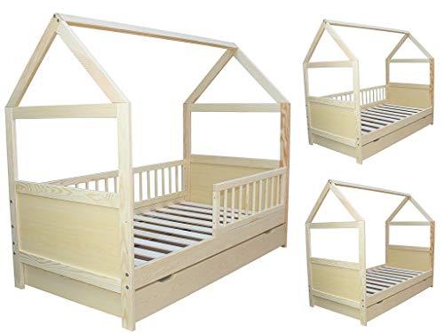 Micoland Kinderbett Juniorbett Bett Haus 140x70cm massiv mit Schublade Kiefer umbaubar