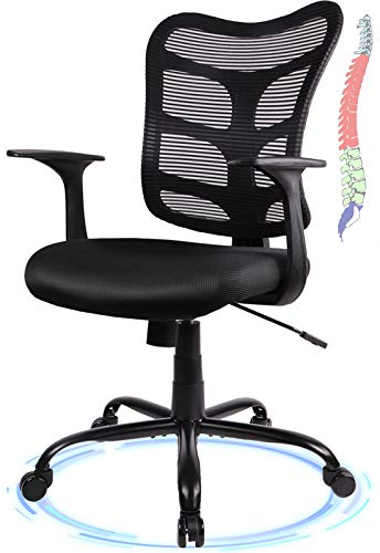 Rimiking Mesh Office Chair - Comfortable Mid-Back Desk Chair Ergonomic Computer Chair with Lumbar Support Rolling Swivel Task Chair for Conference Home Office - Black