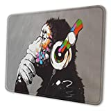 FANIMAL Mouse Pad Art Oil Painting, Funny Thinking Gorilla Gaming Mouse Pad, Dj Monkey Music Art Mouse Mat with Stitched Edge, Anti-Slip Base Mouse Pads for Computer Office Working Mousepad Gifts