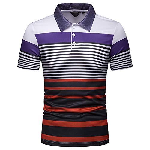 XJWDTX T-Shirt Décontracté À Manches Courtes pour Hommes - Polo À Rayures Contrastantes pour Hommes