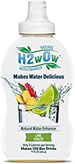 H2wOw Water Enhancer Drops – ORGANIC & Natural Extracts of Real Fruit - a Hint of Organic Stevia - Delicious LIME GINGER Flavored Water 11oz/125 servings