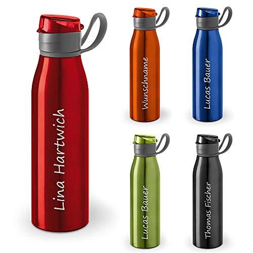 polar-effekt Personalisierte Trinkflasche mit Namen 650 ml Farbe rot - Auslaufsichere Aluminium Wasserflasche mit Gravur - Geschenkidee für Kinder, Schule, Sport, Outdoor, Fitness, Camping
