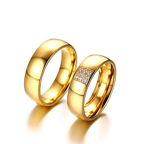 ROMQUEEN JOYERÍA 2 Piezas Anillo de 6MM Anillos de Oro Mujer 18 K Puro Anillo de Compromiso de Oro Anillo Mujer/Hombre de Oro(la Talla Mujer:15 & Hombre:27)