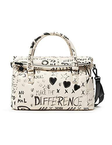 Desigual PU Hand Bag, Borsa a Mano. Donna, Bianco, U