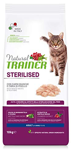 Natural Trainer Cat Sterilised Adult con Carni Bianche e Fibra di Pisello 10 kg - 10000 Gr