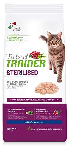 Natural Trainer Cat Sterilised Adult con Carni Bianche e Fibra di Pisello 10 kg - 10000 Gr