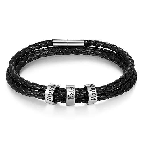 KAULULU Damen Personalisierte Schwarze Lederarmbänder mit 2-5 Beads Namen mit Gravur Herren Paar Armbänder für Männer Frauen Bff Personalisierte Geschenke für Geburtstag (3 Name, 19)