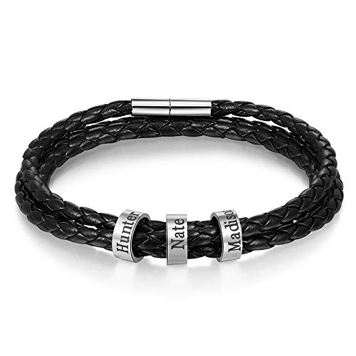 LanM Personalized Men Black Braid Bracelet Custom Bracelet for Men with Small Custom Beads Men's ID Bracelet (3 Beads)