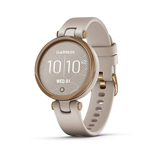 Garmin Lily, Small GPS Smartwatch with Touchscreen and Patterned Lens, Rose Gold and Light Tan