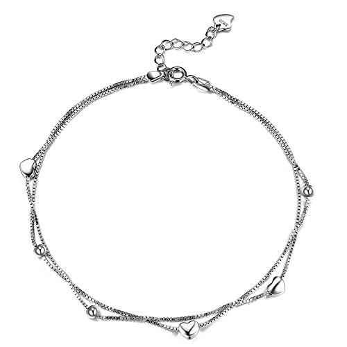 Lydreewam Amor Corazon Tobilleras Pulseras Plata de Ley 925 para Mujer Cadena de 2 Capas Verano Descalzo Playa, Ajustable 22+4cm
