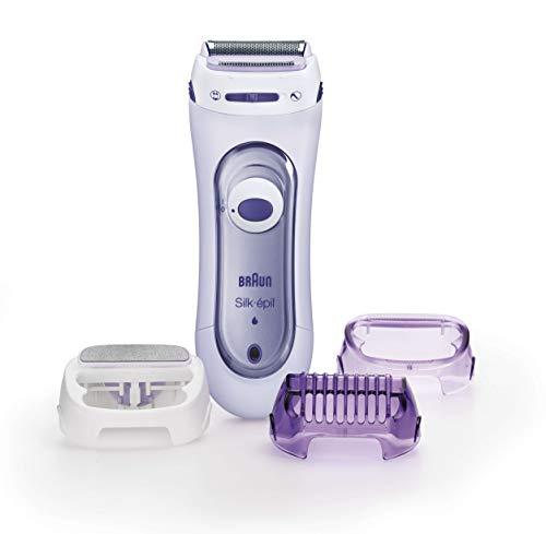 Braun Silk-epil Lady Shaver 5-560 3-In-1 Kabelloser Elektrischer Damenrasierer, Trimmer- und Peeling-System, lila