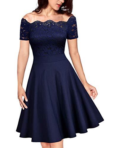 KOJOOIN Damen Vintage Kleider Spitzenkleid Cocktailkleid Brautjungfernkleider für Hochzeit Kurze Abendkleider Dunkelblau M