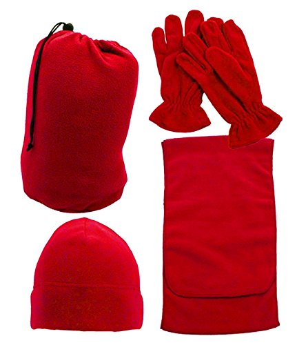 Simplicity Men and Women's Beanie Hat Gloves and Scarf Fleece Winter Set