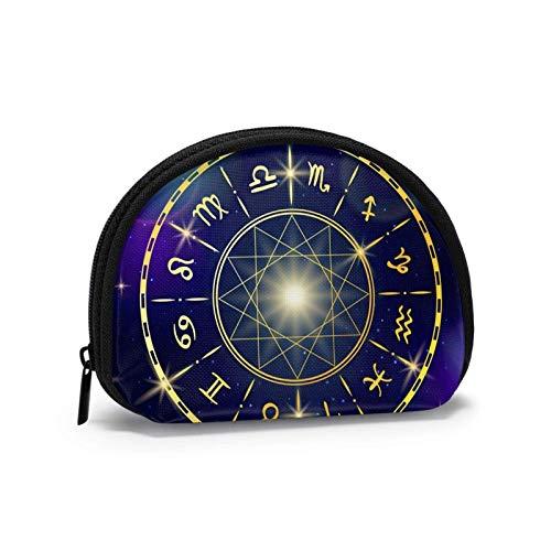 Coin Purse Zodiac Wheel Space Small Coin Pouch Canvas Wallet Portable Shell Storage Bag for Women Girls