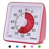 Yunbaoit - Temporizador analógico Visual, Cuenta atrás silencioso, Herramienta de gestión del Tiempo para niños y Adultos (Rojo)