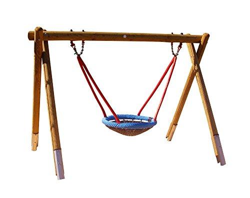 Ideen für Kinder b+t H4650-K-220-S Vogelnest-Schaukelgestell/aus Kiefer/Höhe: 220 cm/mit Stahlanker, Schaukellager + Vogelnestkorb Ø 120 cm