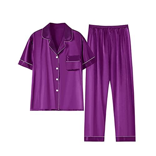 Conjunto de pijama de mujer más tamaño seda servicio hogar verano púrpura 4XL