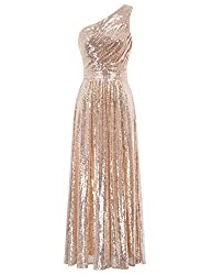 One Shoulder Maxi Sequin Rose Gold Gown